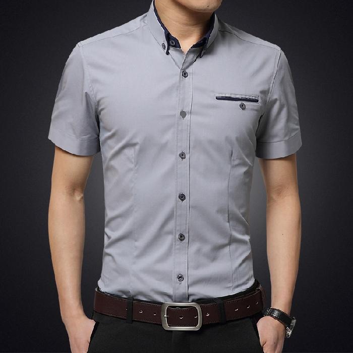 春夏季衬衫男短袖白衬衫男士商务衬衣男寸韩版宽松大码