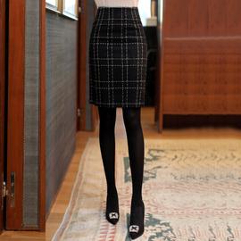 小香风黑色格子毛呢半身裙女2020秋冬配大衣裙子气质百搭包臀短裙