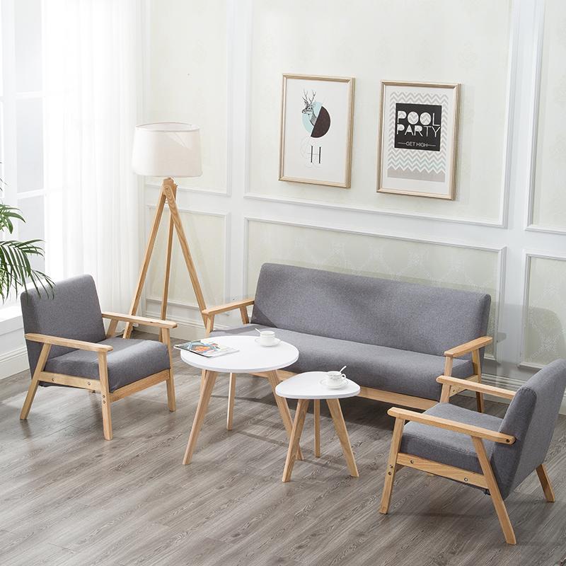 现代简约小型布艺单人实木沙发日式田园双人三人沙发椅子客厅