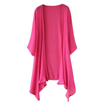 新款短袖棉麻夏季文艺百搭纯色开衫