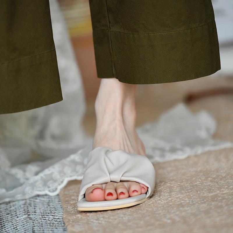 皮厚先生 软到没朋友 中跟拖鞋女凉拖女一字拖夏季凉鞋女矮跟女鞋