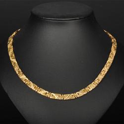 台湾正品颈椎磁疗防辐射龙纹钛钢项链男锗石能量平衡项圈金色饰品