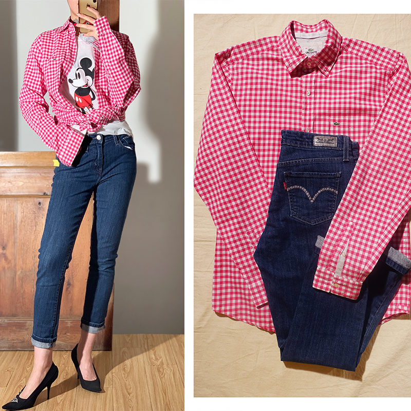 Pin vintage is a fashionable and casual classic with pink plaid shirt and skinny jeans