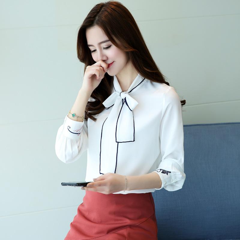 实拍韩版甜美上衣长袖百搭刺绣衬衣灯笼袖雪纺系带蝴蝶结衬衫女