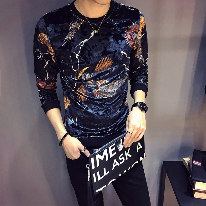 Tattoo clothes underworld brothers wear 3D Harajuku pattern short sleeve T-shirt male spirit boy personality domineering trend t