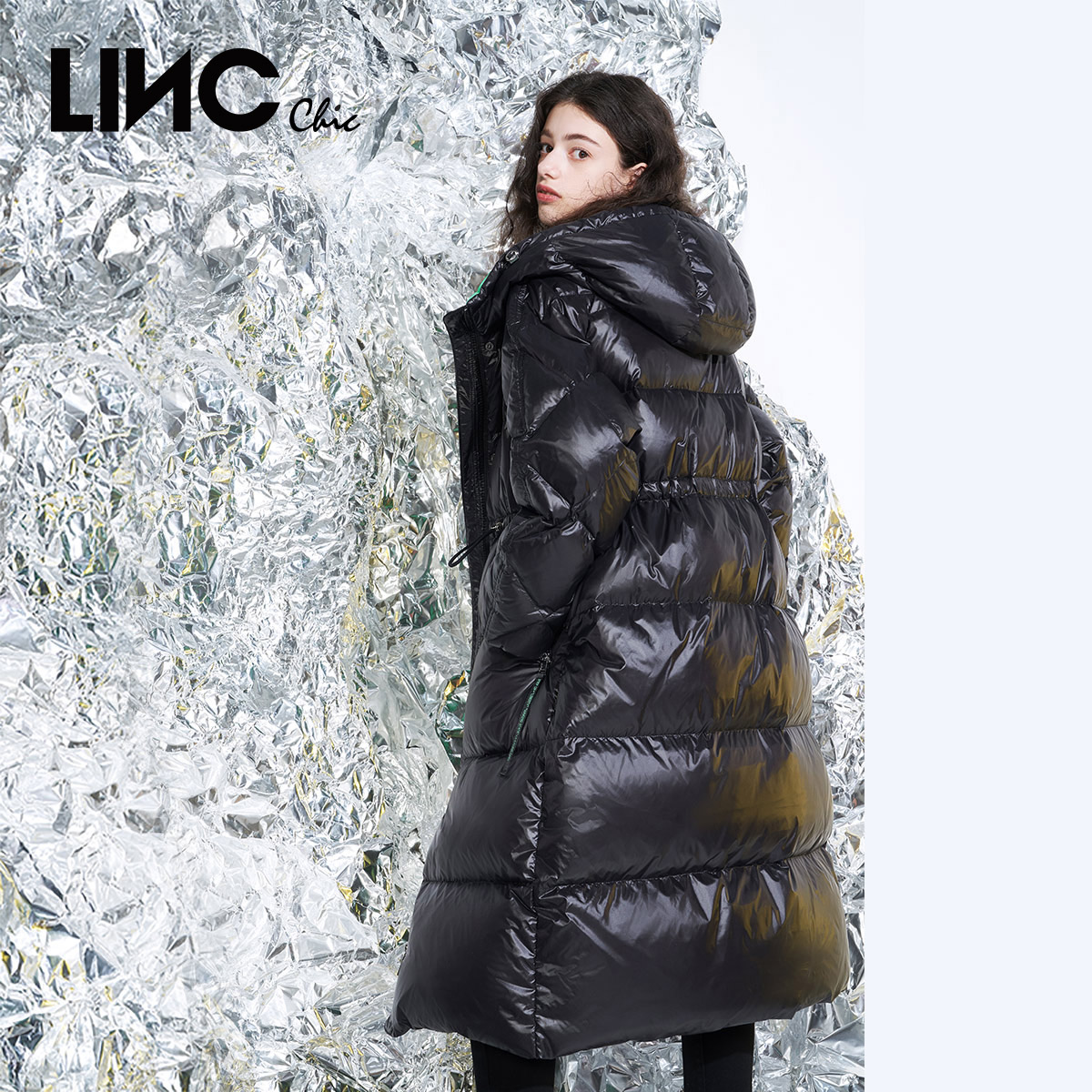 Linc Jin Yujie 2020 Winter New Tilt cool long bread thickening jacket down jacket female 2083489