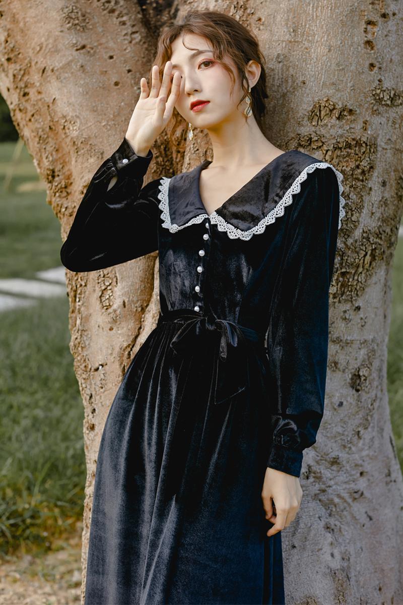 智熏裙法式桔梗裙复古黑色收腰显瘦气质连衣裙女秋冬小黑裙赫本风109.00元包邮