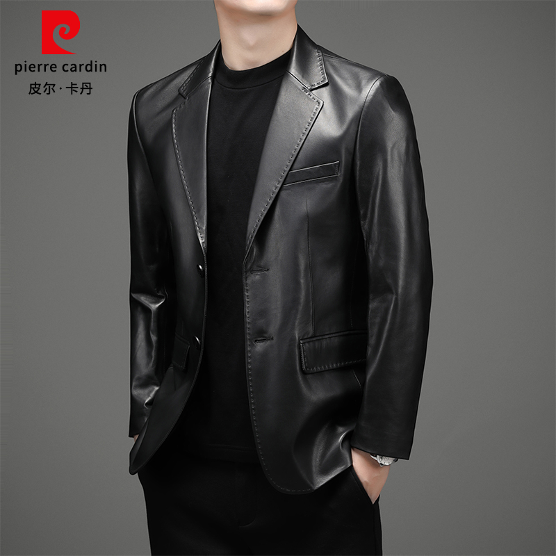 Pierre Cardin sheepskin leather men's leather jacket tide Haining soft leather jacket winter plus velvet men's tide suit