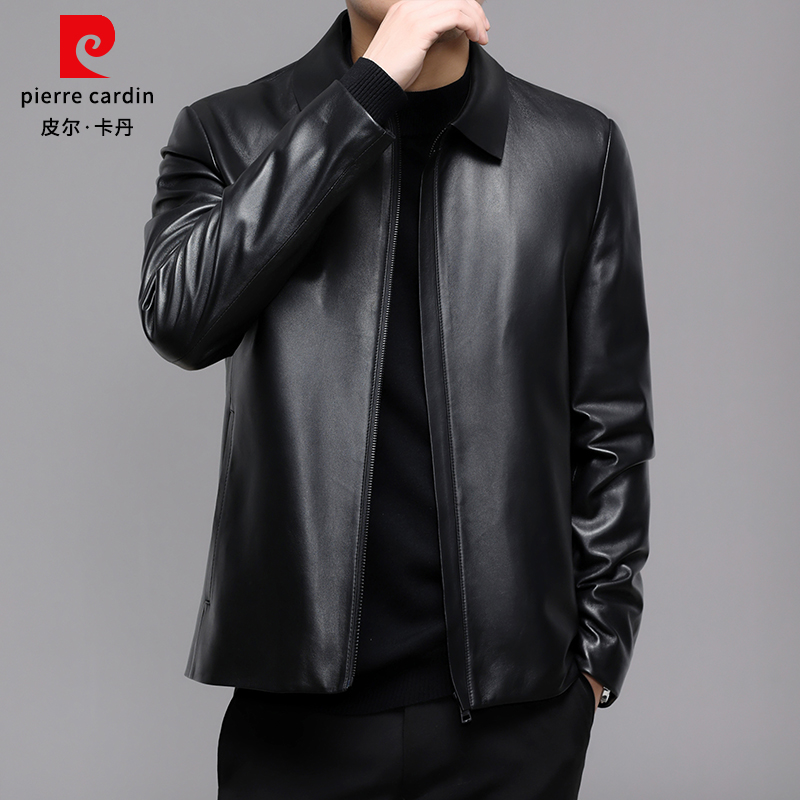 Pierre Cardin genuine sheepskin leather men's leather jacket tide Haining lapel soft leather jacket winter men's clothing