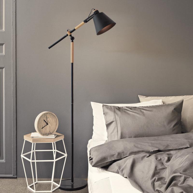 北欧简约护眼阅读落地灯 客厅卧室日式ins风长臂高脚立式台灯地灯
