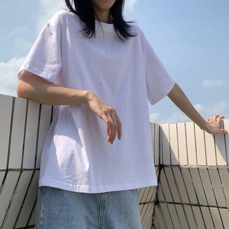 纯棉黑白色短袖t恤女夏2020年新款宽松韩版大码多色网红ins超火潮