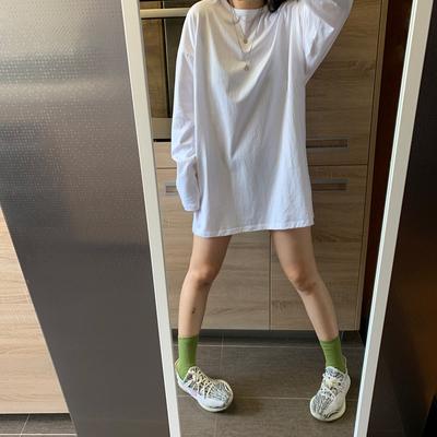 白色BF风内搭长袖T恤女打底衫春秋季新款宽松潮薄款中长款上衣潮