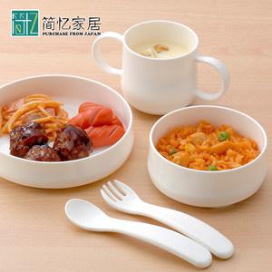 日本进口儿童餐具糖果色辅食碗日式勺叉套装耐防摔饭碗环保塑料碗