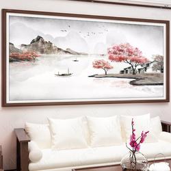 十字绣2020新款大幅客厅大气线绣满风景山水画流水生财自己绣手工