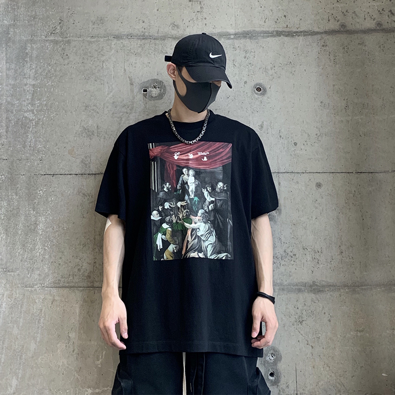 OFF OW WHITE C/O VIRGIL ABLOH 20FW新款油画箭头宗教短袖T恤TEE