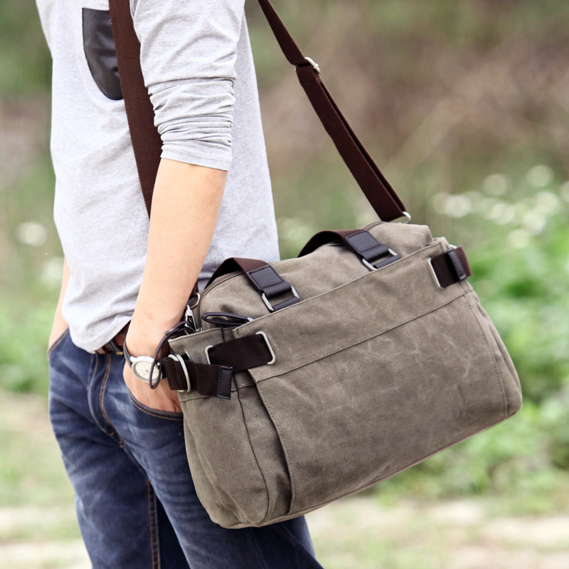 That non trend mens bag Single Shoulder Bag Travel Bag Messenger Bag Canvas Bag Korean version leisure horizontal business large capacity