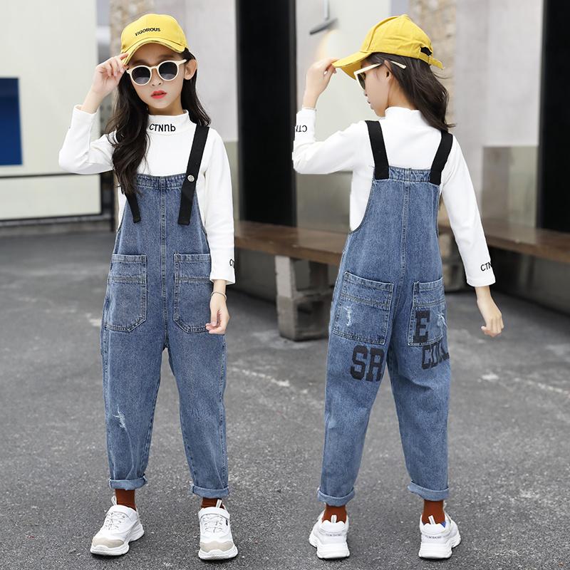 女童牛仔背带裤2020新款儿童中大童9-12岁吊带女孩春装裤子春秋款