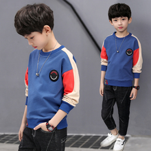 Boys'Long Sleeve T-shirts with Cashmere Children's Clothes, Boys' Pure Cotton Autumn Clothes, Sanitary Wardrobes, Bottom Blouses, Spring and Autumn