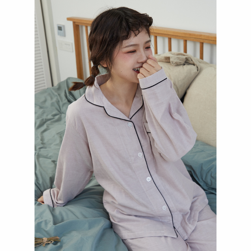 Jun Zhi Jus 19 autumn new cotton double layer yarn Japanese simple solid color loose casual pajamas home suit women