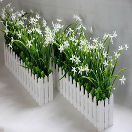 仿真绿色植物兰花草栅栏假花塑料花桌面隔断摆放舞台墙角装饰装扮