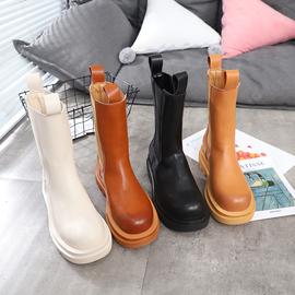 马丁靴女英伦风秋冬新款中筒靴真皮厚底百搭瘦瘦靴烟筒靴BV靴加绒图片
