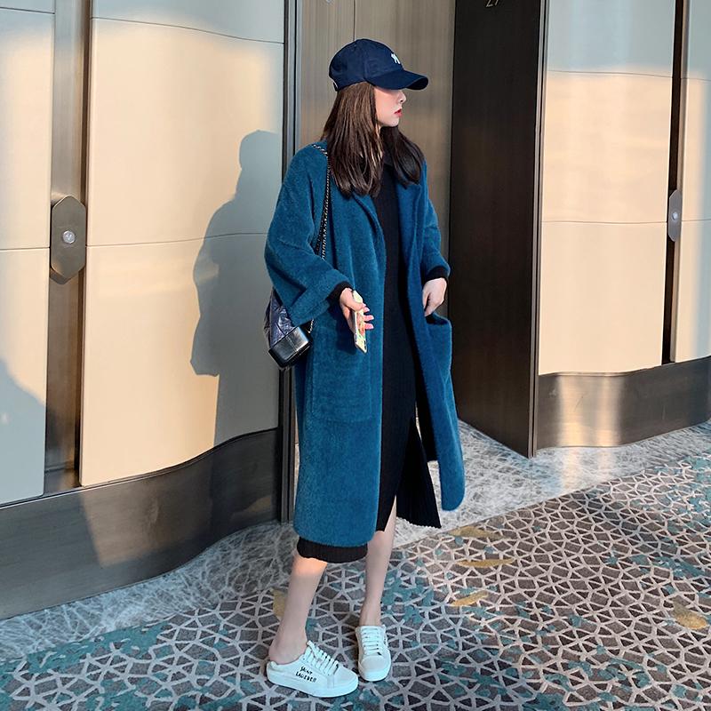 秋冬季慵懒风显瘦纯色水貂毛外套2019大衣女中长款三色可选