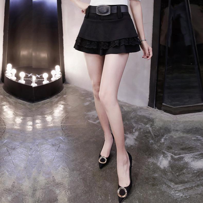 2018夏季新款超短裙半身裙韩版蕾丝拼接荷叶边a字蓬蓬女打底裙子
