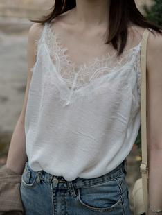 白色蕾丝吊带缎面宽松单穿小背心