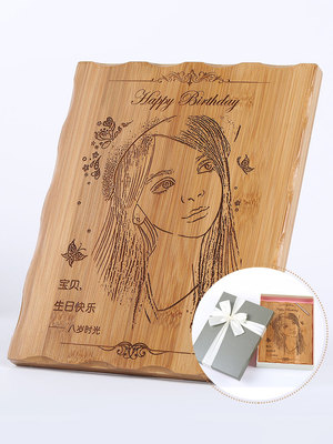 定制木刻画定制照片雕刻创意生日礼物送女生男友闺蜜异地军恋情侣军人