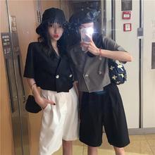 露脐小西装 双排扣宽松短袖 外套女装 上衣洋气短款 2019夏季 新款 韩版