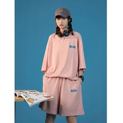 夏装新款 华夫格面料 韩版女短袖T恤套装A342-T72-P68-控88
