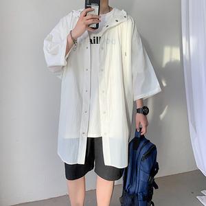 短袖七分袖风衣衬衫夏季休闲宽松中长款防晒衣218-S01-P55,男装风衣,星座218