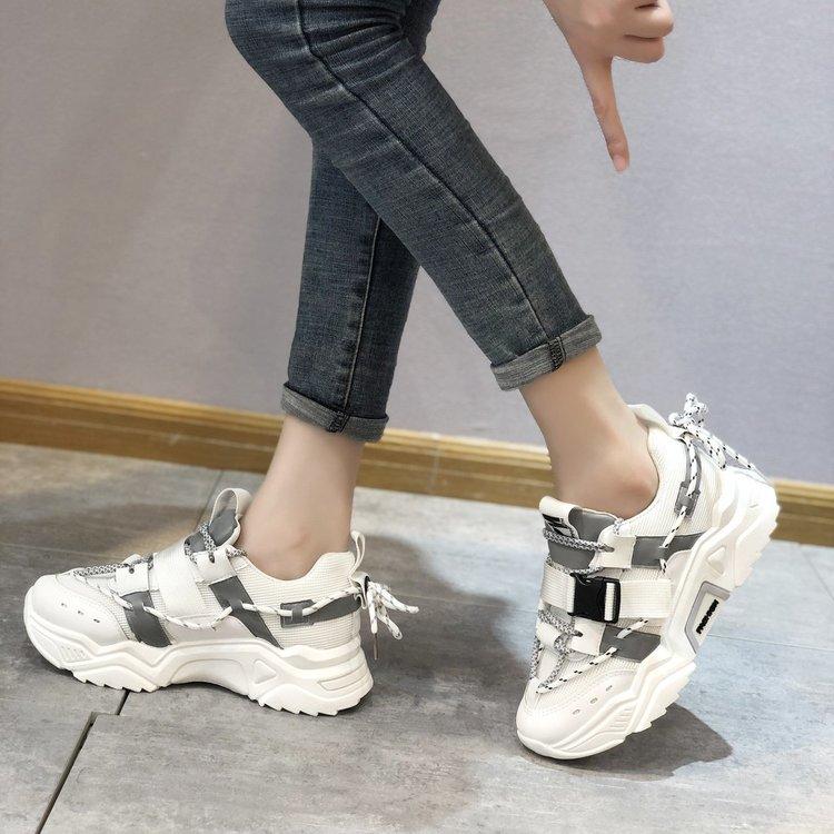 新款单鞋女鞋单鞋2020年秋季中跟系带橡胶网布PU深口圆头X200/P79
