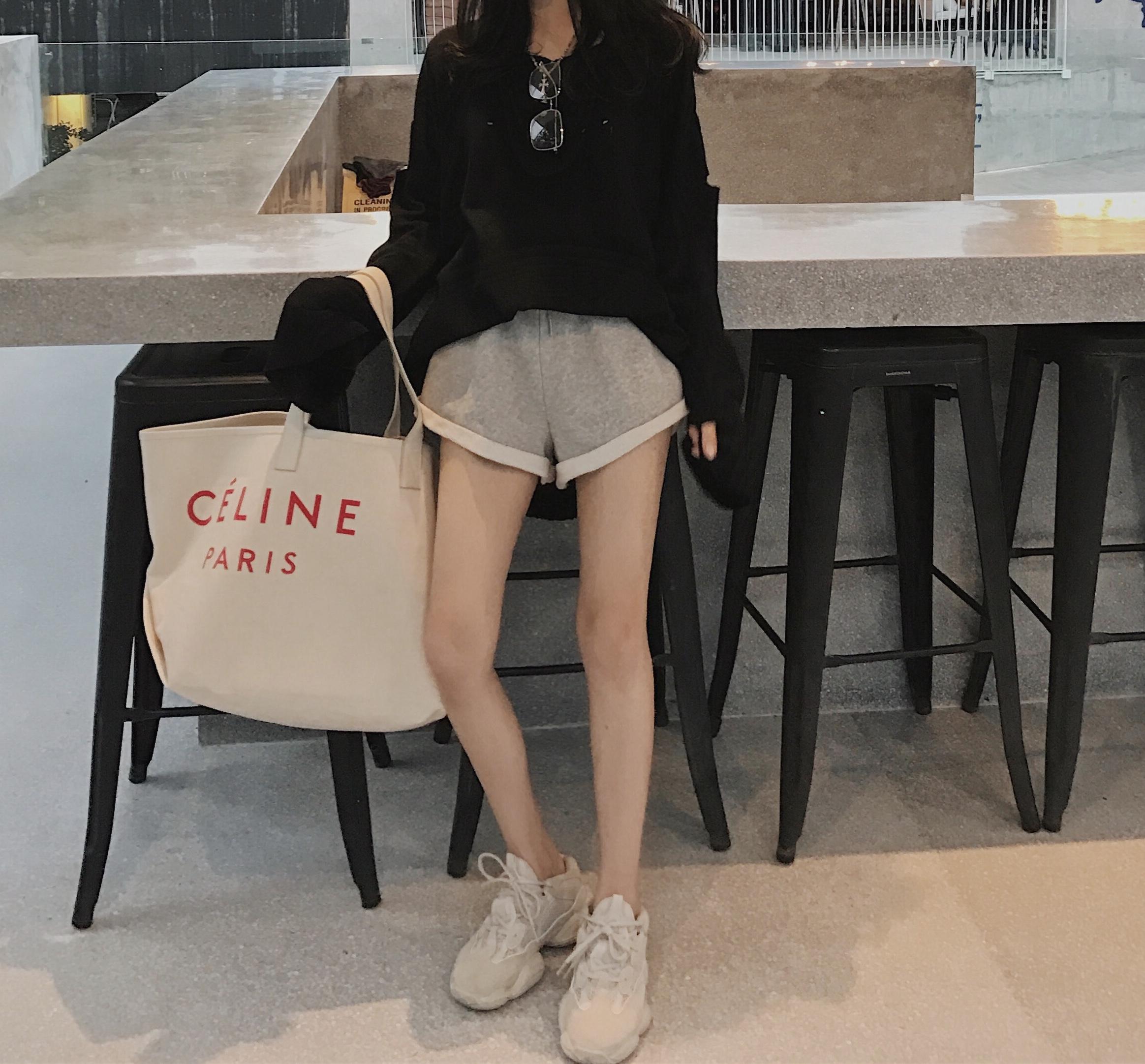 钱夫人CHINSTUDIO高腰系带卷边休闲运动短裤女夏宽松显瘦阔腿卫裤