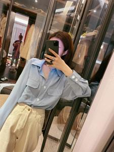 钱夫人 韩风明辑线撞色衬衫女2020新款春秋长袖宽松小众轻熟衬衣