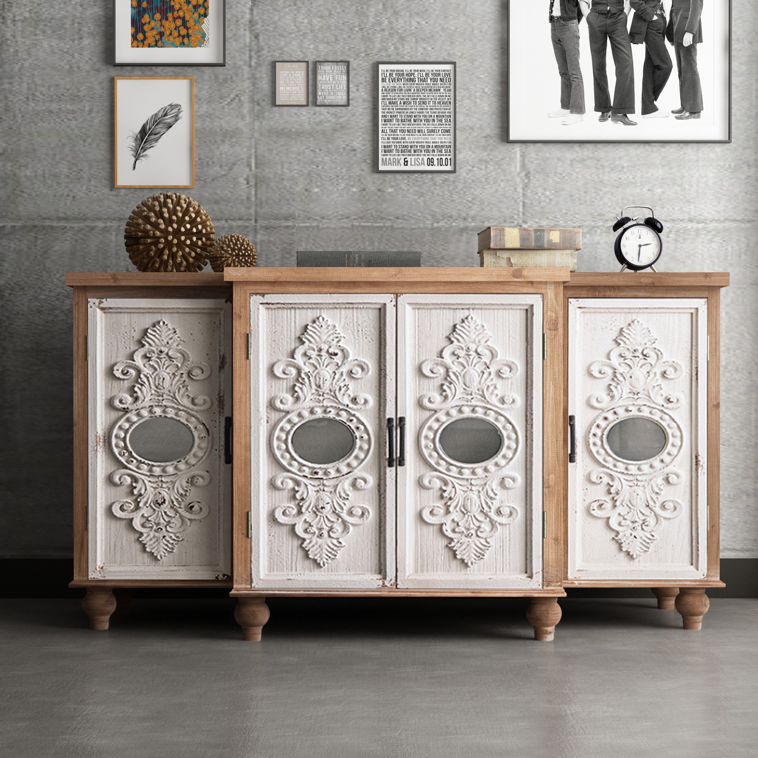 American retro solid wood furniture porch cabinet storage cabinet carved light luxury dining side cabinet B & B living room fireplace decoration cabinet