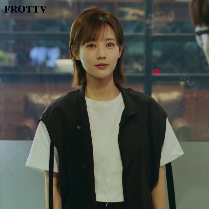 正品FROTTV我的时代你的时代李一桐艾情同款衣服韩版黑色拉链无袖