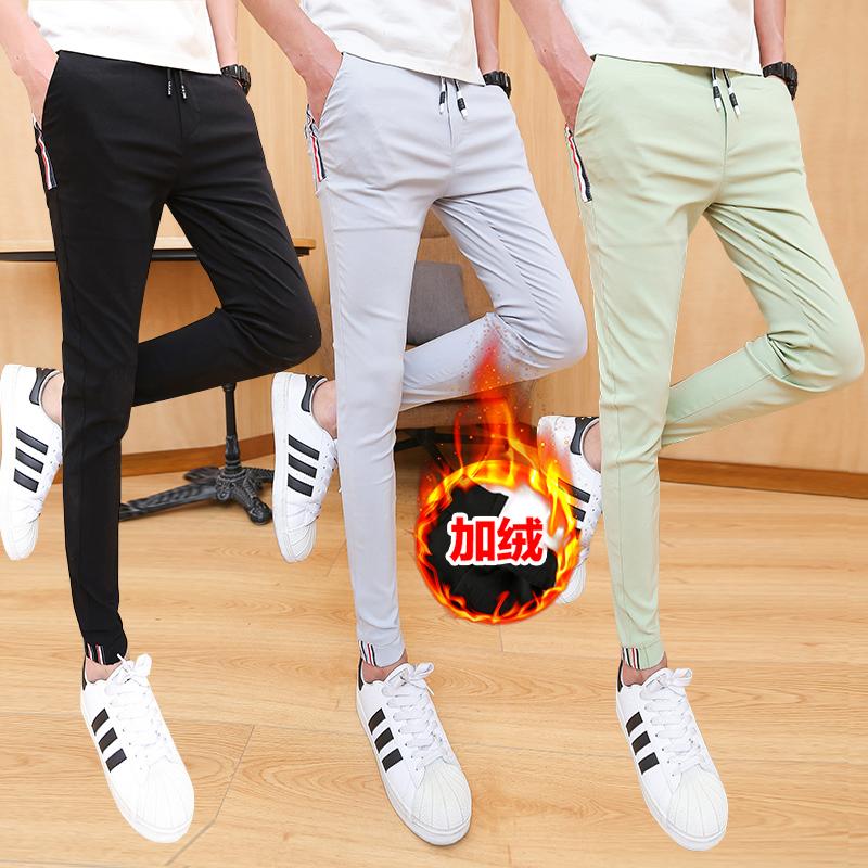 加绒新款男士休闲裤小脚裤个性修身束脚长裤紧身裤1001K997P50