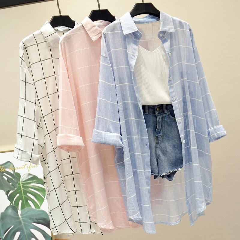 蓝色格子衬衫女复古学生韩版宽松百搭中长款防晒衣衬衣外套炫衣