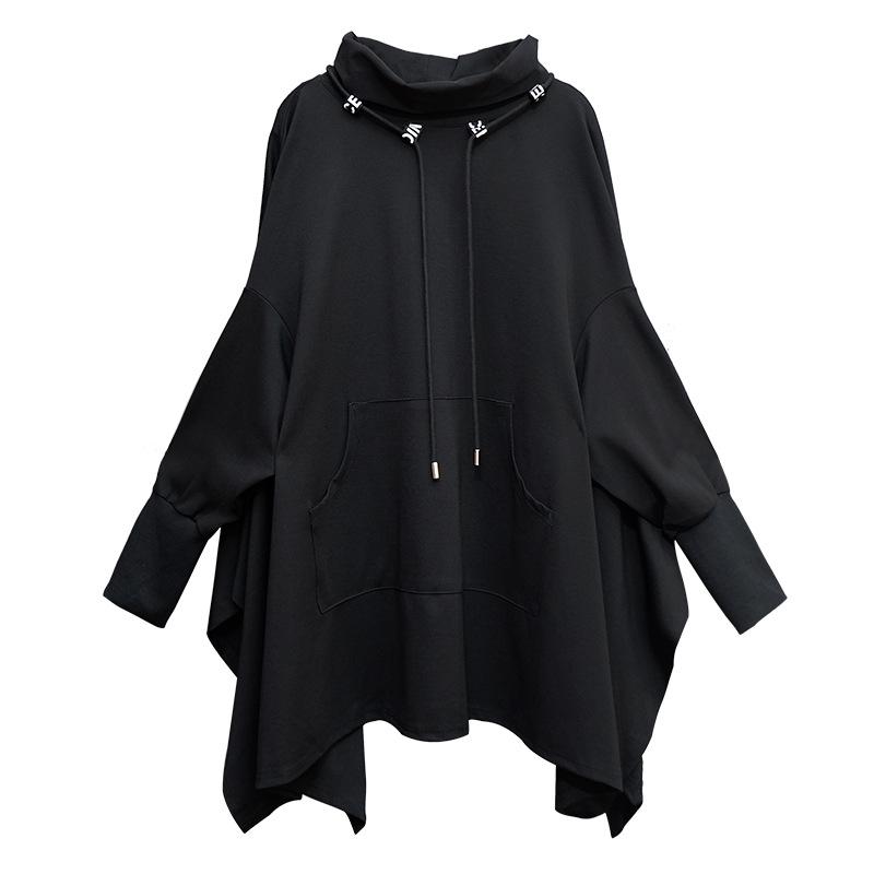 欧美秋冬大版套头卫衣大码中长款女装堆堆领个性蝙蝠衫暗黑系上衣