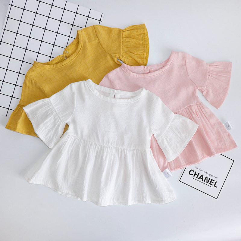 满49.50元可用29.7元优惠券婴儿短袖裙子纯棉薄款女童T恤棉麻夏装连衣裙春上衣女宝宝娃娃衫