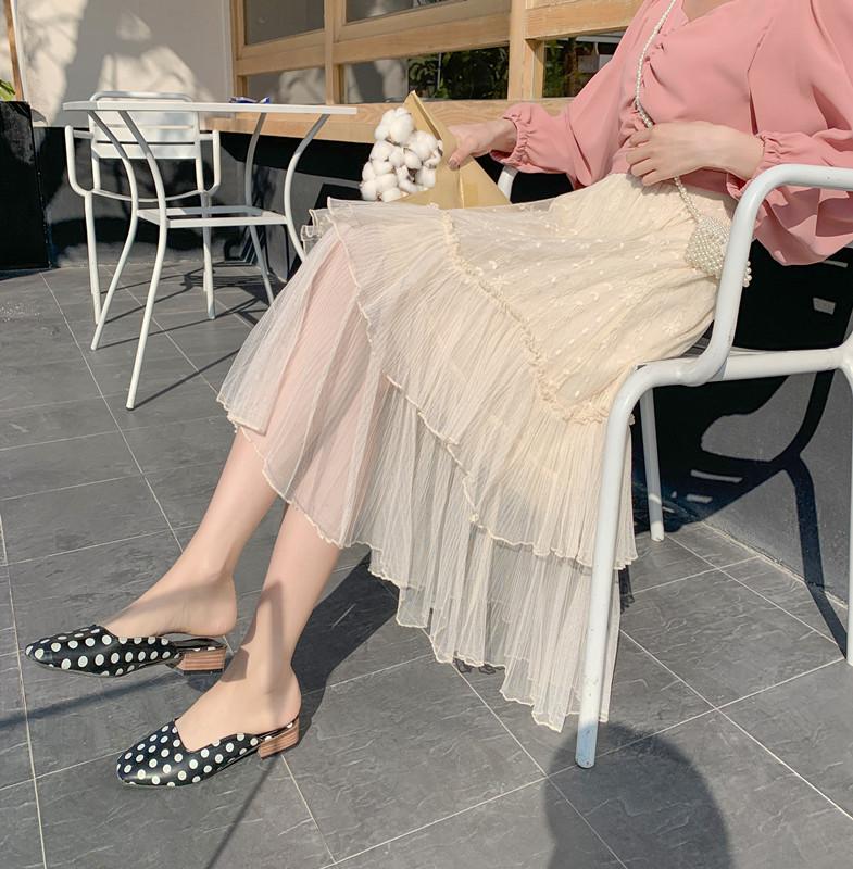 实拍蕾丝网纱蛋糕裙法式中长款半身裙女超仙女长裙白色纱裙