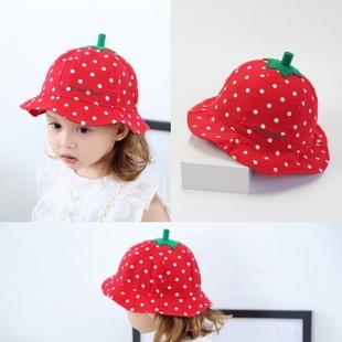 春夏宝宝太阳帽大红色草莓婴儿帽子