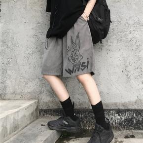 薄款裤子女夏季韩版ins原宿风复古卡通阔腿五分裤宽松休闲短裤潮