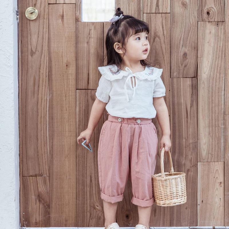 女童夏装套装2020新款洋气衬衫短袖中小童韩版女孩休闲中裤两件套