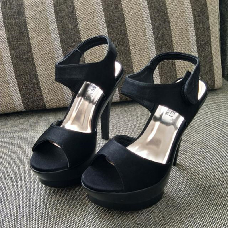 Super high heeled sandals womens summer 2020 model show temperament girl black fish mouth waterproof platform slim heel shoes large