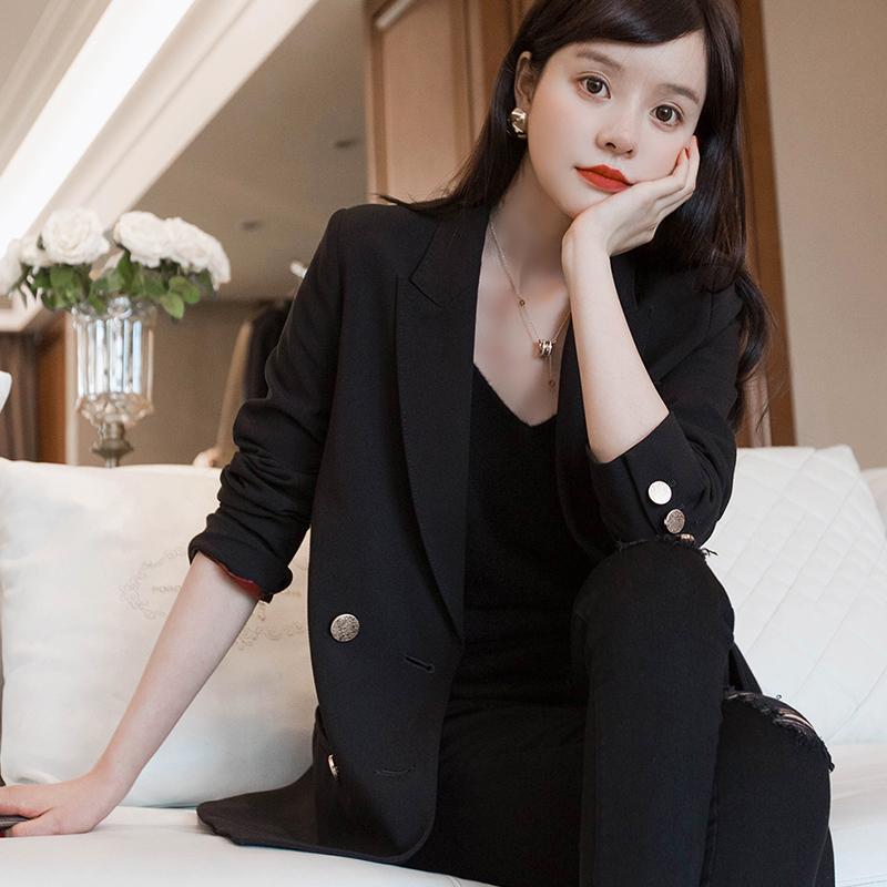 UMOOIE岛国精品系列 / 经典黑色双排扣品质OS 廓形西装外套