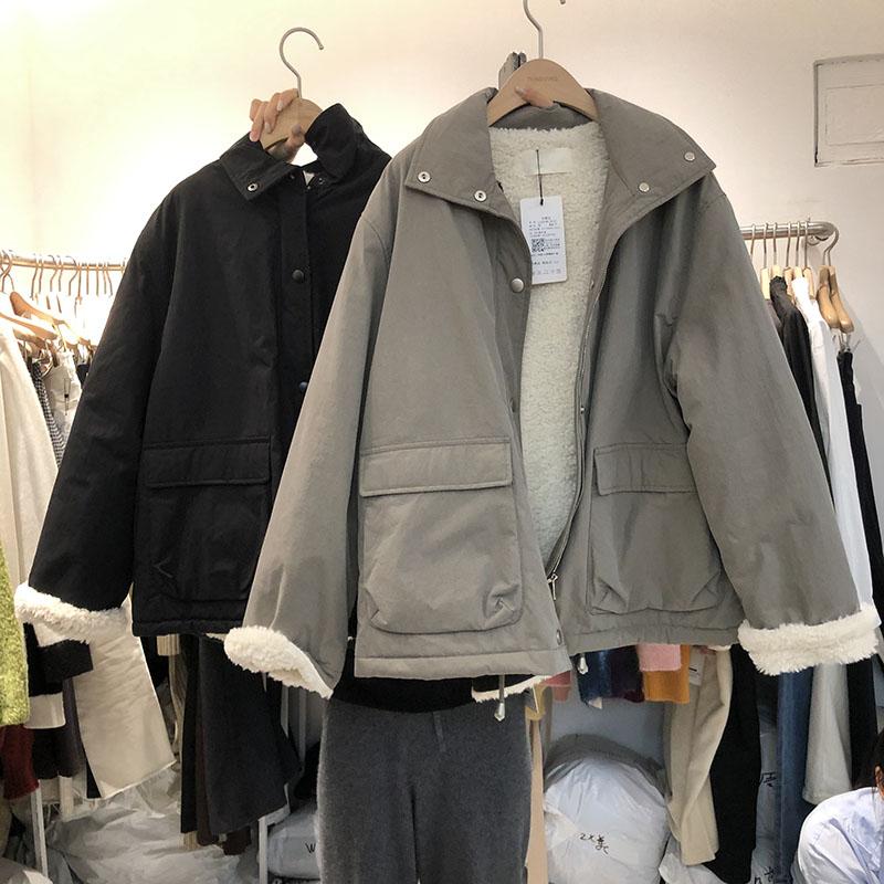 韩国女装T-G2020冬季新品显瘦BF风短款工装夹克羊羔毛风衣外套女图片