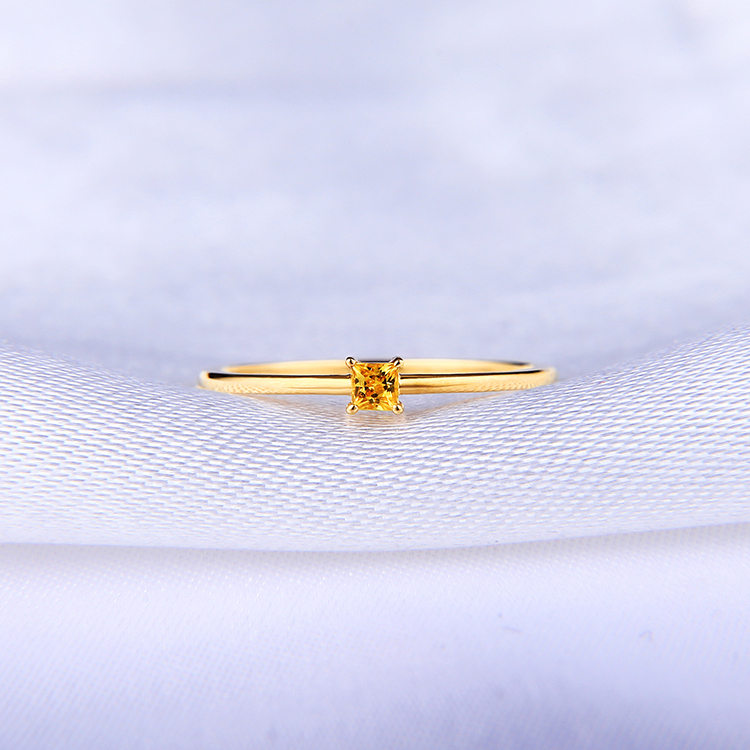 Chronicle Natural Yellow Sapphire Ring 18K ring womens ring small fresh color treasure square ring