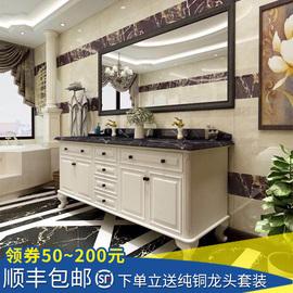 现货美式乡村浴室柜组合北欧橡木落地双盆卫浴柜卫生间洗手洗脸盆图片